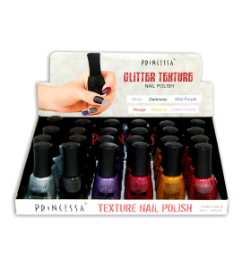 Glitter Nail Polish (563B) Princessa 6 colors 24 piece display