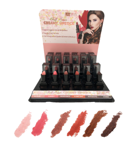 Full Prism Creamy Lipstick (one piece) MG-560A (6 colors, 24 piece display, each) (MALIBU GLITZ)