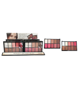 Princessa 12 Colors Highlight + Bronzer + Blush Palette (PR114) Princessa (one piece)